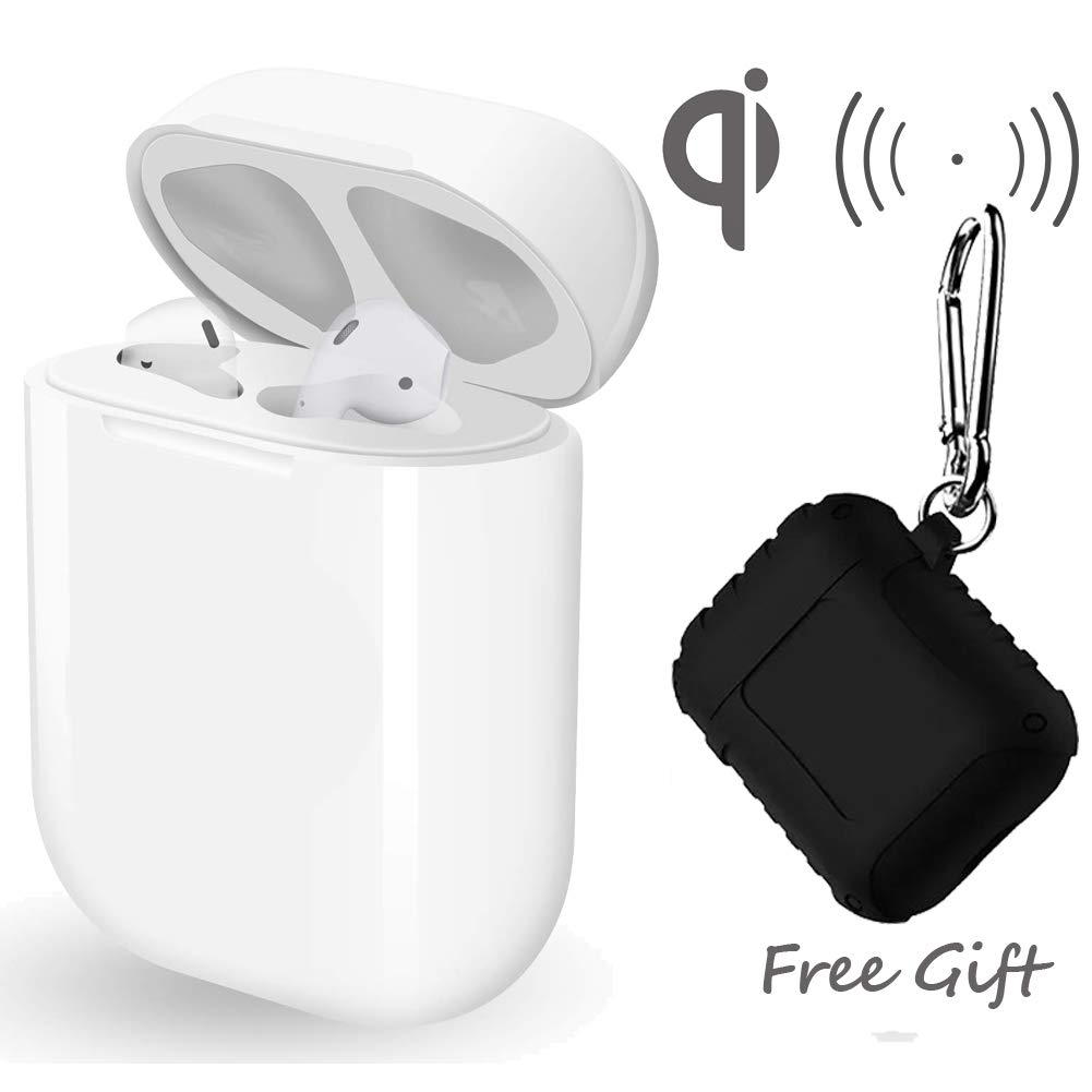 Wireless Charging Replacement case for Airpods with Free Protective Case,Airpod Charging Case Airpod Charger Adapter Compatible Air Pods Accessories for 5 Times Charge [White, No Bluetooth Button]