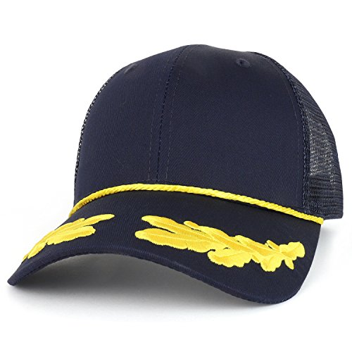 Armycrew Captain Oak Leaf Embroidered Trucker Mesh Cap with Yellow Rope - Navy (Embroidered Trucker Mesh Cap)
