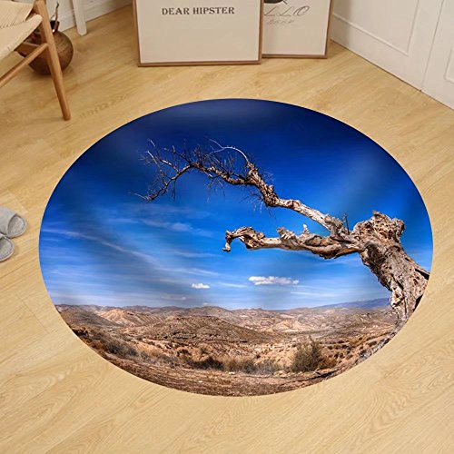 Gzhihine Custom round floor mat Parched Tree in the Desert Landscape-Spain Almeria by Gzhihine