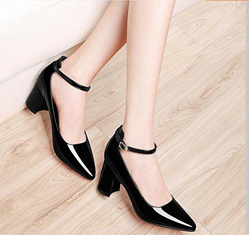 KHSKX-L'Embout Noir Brillant 6.5Cm Faible Chaussures Aider Le Nouveau Single Chaussures Femme Light-Slotted Avec Fixations Bold Unique Chaussures Chaussures Femmes 40 9cf346GKy