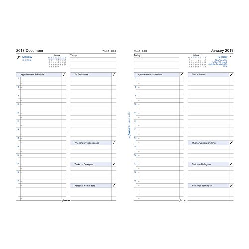 filoFax 68510-OS-2019 Refill for Year 2019 A5 Month On Two Pages Diary