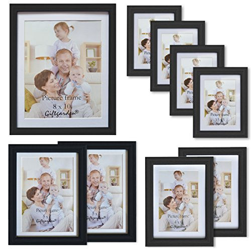 Graduation Photo Wall Hanging - Giftgarden Black Matted Picture Frames Collage Multi Wall Frame set of 9 pcs, one 8x10, two 5x7, two 4x6, four 3.5x5, Glass Lens
