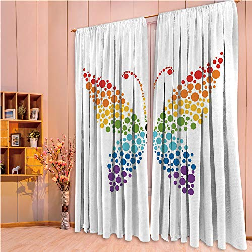 ZHICASSIESOPHIER Finel Kids Curtains for Living Room Bedroom Window Curtains Baby Room Lovely Children Curtains Drapes,Rainbow Colored Dots Nature Shapes Circle Life 84Wx95L Inch