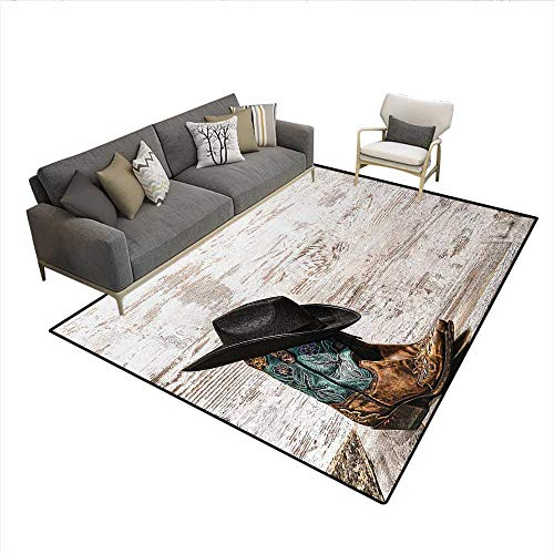 Carpet,Traditional Rodeo Cowboy Hat and Cowgirl Boots Retro Grunge Background Art Photo,Non Slip Rug Pad,Brown BlackSize:5'x7'