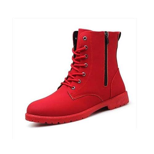 FF Botas Militares Botas de Cuero para Hombres Botas de Bota Mediana Botines Rojos Botas Altas de Hombre: Amazon.es: Zapatos y complementos