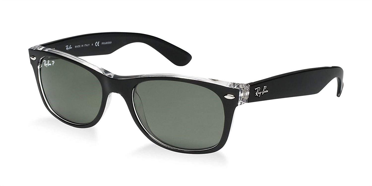 8a3614b7f7fc Amazon.com: Ray-Ban RB2132 New Wayfarer Color Mix Unisex Sunglasses (Black  on Transparent Frame/Green Lens 6052, 52): Clothing