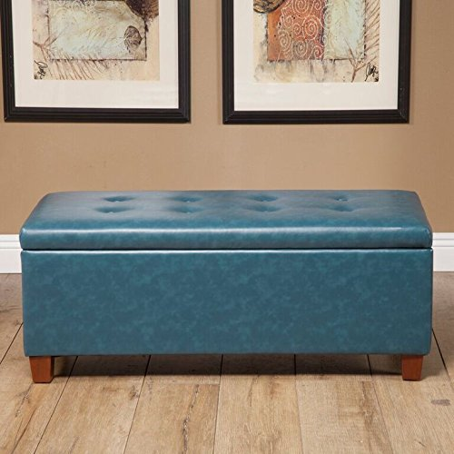 Kinfine Large Leatherette Storage Bench with Hinged Lip, Teal
