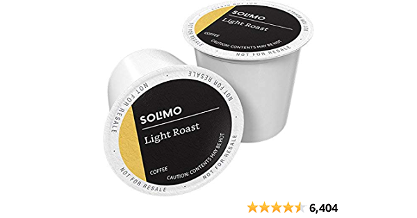 Amazon Brand - 100 Ct. Solimo Light Roast Coffee Pods, Morning Light, Compatible with Keurig 2.0 K-Cup Brewers