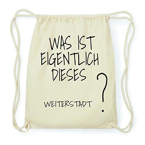 JOllify WEITERSTADT Hipster Turnbeutel Tasche Rucksack aus Baumwolle - Farbe: natur Design: Was ist eigentlich