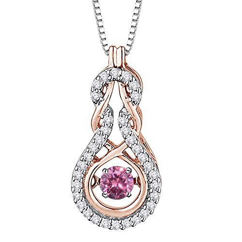 Diamond and Pink Sapphire Moving Stone Fashion Pendant Necklace in 10K Pink Gold (3/8 cttw)