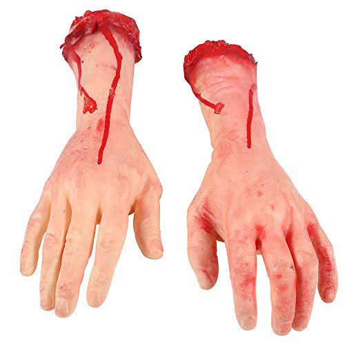 (ONEDONE Terror Severed Bloody Fake Arms Hands for Halloween Party and Cosplay-1)