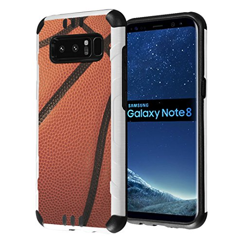 Galaxy Note 8 Case, Capsule-Case Hybrid Dual Layer Slim Defender Armor Combat Case (White & Black) Brush Texture Finishing for Samsung Galaxy Note8 SM-N950 - (Basketball)