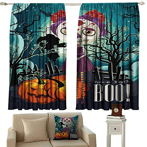 Curtain Tailored,Halloween Cartoon Girl with Sugar Skull Makeup Retro Seasonal Artwork Swirled Trees Boo,Curtains for Living Room,W55x72L Inches Multicolor]()