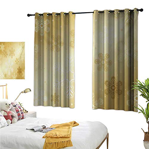 RuppertTextile Sliding Curtains Snowflakes Pattern Noel Holiday Yuletide Themed Winter Inspired Artsy Image 55