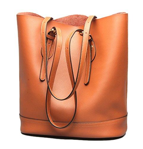 Genuine Leather Organized Tote Handbag - Molodo Women Genuine Leather Big Shoulder Bag Handbag Tote