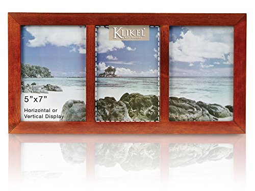 Acrylic Collage Picture Frame - Klikel Three Photo Collage Solid Walnut Brown Wood Picture Frame - 3 Opening 5 X 7 Picture Slots