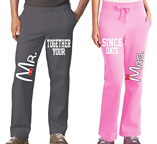 Mr Mrs Couples Pajama Pants & Bottoms - Matching Couple Outfits for Men & Women - Drawstring Sweatpants with Pockets - Family Pajamas for Him and Her - His Hers Sweat (Pants Couple Sets)