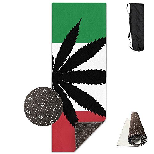 QNKUqz Weeds Leaf With Italy Flag Deluxe Yoga Mat Aerobic Exercise Pilates by QNKUqz