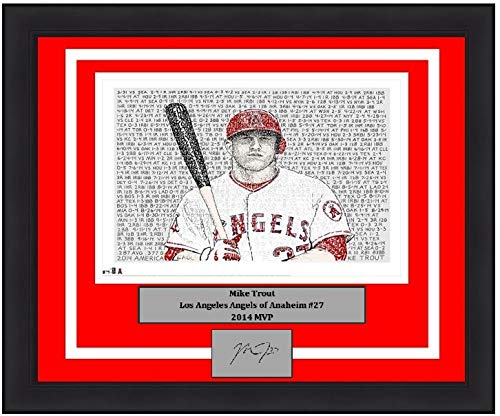 """Angels Mike Trout 2014 MVP Daniel Duffy Word-Art 16"""" x 20"""" Framed and Matted Baseball Photo with Engraved Autograph"""