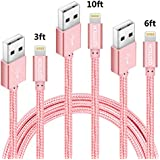 Phone Cable, QSSTECH iPhone Charger 3 Pack 3FT 6FT 10FT Nylon Braided Charging Cord Compatible with iPhone X, 8, 8 Plus, 7, 7 Plus, 6, 6 Plus, 6s, 6s Plus, 5, 5s, 5c, SE, iPod, iPad (Rose Gold)