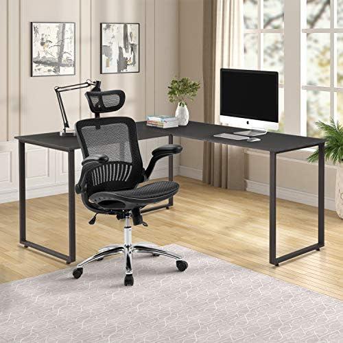 ModernLuxe L-Shape Home Office Desk Corner Computer Desk PC Laptop Table Workstation Wood Metal