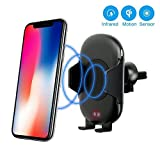 HITA Wireless Car Charger-Qi Fast Wireless Charging Car Mount Infrared Motion Sensor Wireless Car Charger Air Vent Phone Holder for iPhone X 8/8 Plus Samsung Galaxy S8/S9