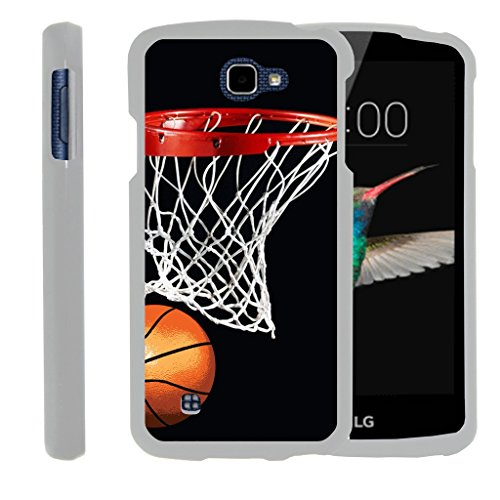 MINITURTLE Case Compatible w/ [LG K4 Case, LG Optimus Zone 3 Case, LG Spree, LG Rebel White Case][Snap Shell] 2 Piece White Design Case, Perfect Fit Hard Rubberized Cover - Basketball Swish