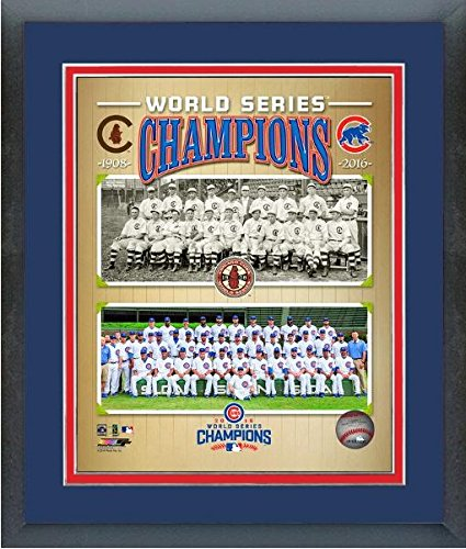 "Chicago Cubs 1908 & 2016 World Series Champions Team Photo (Size: 12.5"" x 15.5"") Framed"