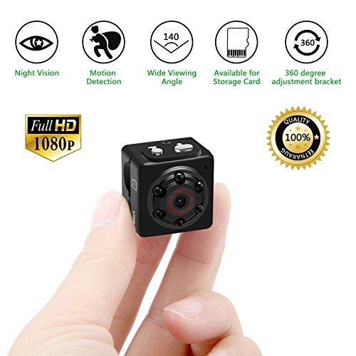 Mini Hidden Spy Camera, Tiny Nanny Hidden Camera System Surveillance Wireless 1080P Motion Detection Night Vision for Home Security -No WIFI Funtion ()