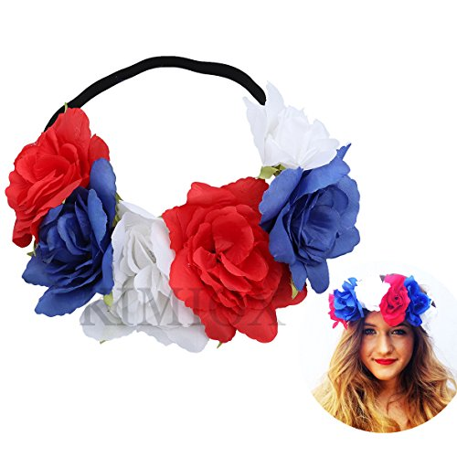 Halloween Decorations, Floral Flower Crown Stretch Headband Costumes for Women Girls Men Boys (July 4th-1 Piece) ()