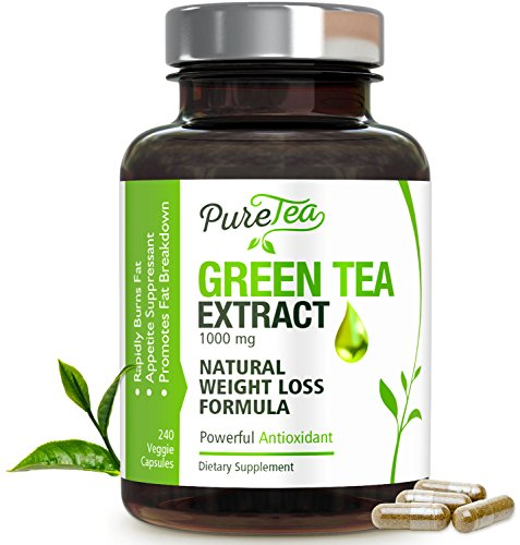 Green Tea Extract Max Potency 98% with EGCG 1000mg for Healthy Weight Loss - Boost Metabolism for Heart - Antioxidants for Immune System - Gentle Caffeine - Fat Burner Supplement Pills - 240 Capsules