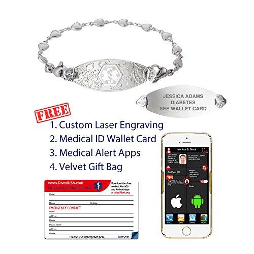 Divoti Deep Custom Laser Engraved Lovely Filigree Medical Alert Bracelet -Stainless Heart Link -White-6.5'' by Divoti (Image #2)