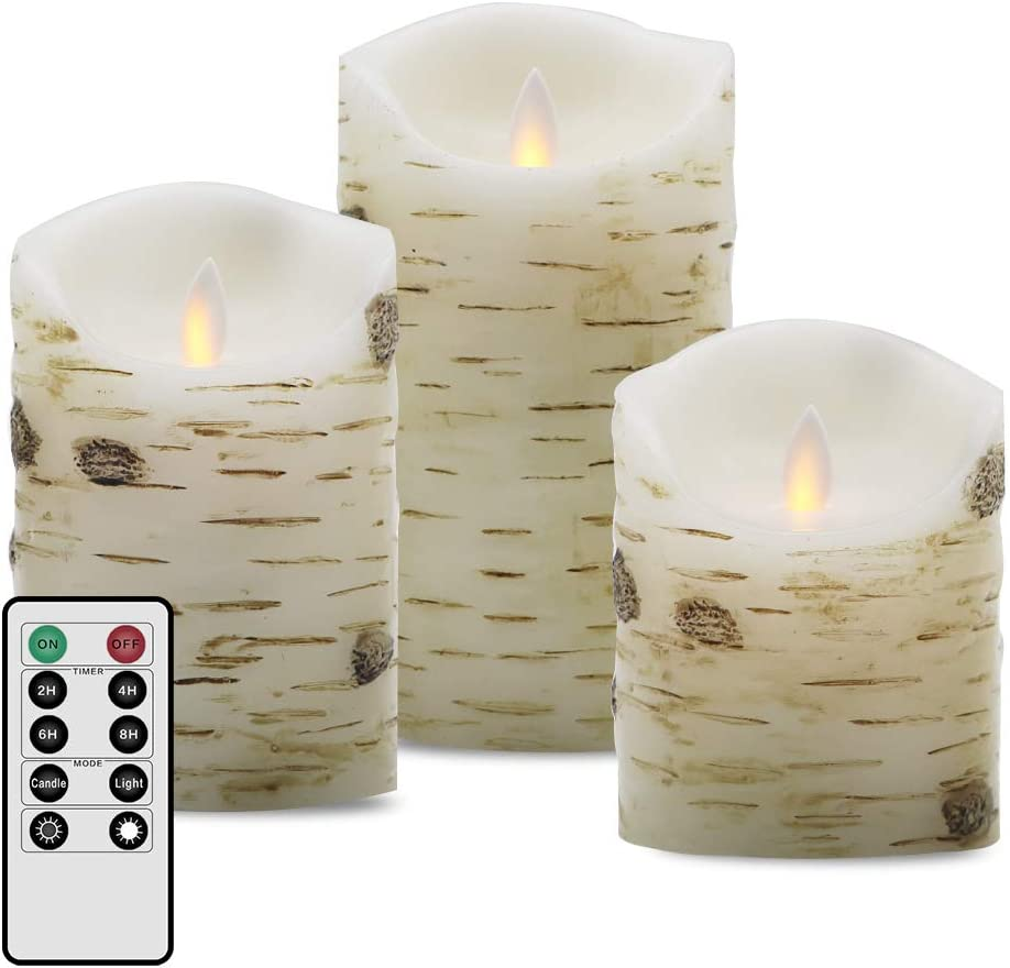 Flamelss Candles Flickering Candle Real Wax Pillars Set of 4