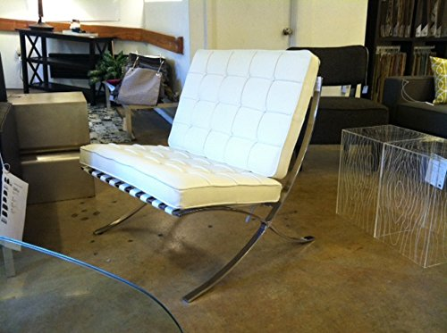 Barcelona Leather Lounge Chair - MCM Classics Barcelona Style Leather Lounge Chair in White Color