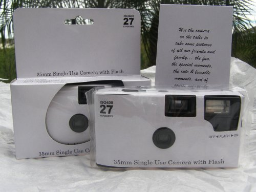 5 Pack of Plain Glossy White Disposable 35mm Cameras for Wedding or Any Party, 27 Exposures Each- With Matching Table Cards by The Camera Depot