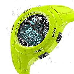 EVTCO Kids Outdoor Sport LED Digital Electrical Luminescent Waterproof Alarm Children Dress Wrist Watch Green