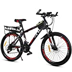 """51uBUmmo56L. SS150 PXQ Mountain bike in carbonio duro 20/22/24/26"""" per adulti, Shimano 21 velocità, con freni a disco doppi e forcella ammortizzata, Red, 26Inch"""