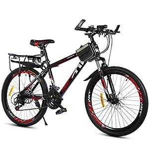 """51uBUmmo56L. SS300 PXQ Mountain bike in carbonio duro 20/22/24/26"""" per adulti, Shimano 21 velocità, con freni a disco doppi e forcella ammortizzata, Red, 26Inch"""