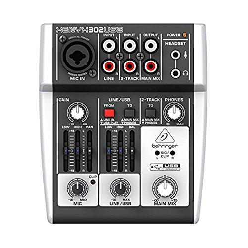 [해외]Behringer XENYX 302USB 다이나믹 보컬 마이크 및 조로 사운드가있는 5 입력 믹서 프리 앰프 오디오 인터페이스 맞춤형 설계 믹서 폴리싱 천/Behringer XENYX 302USB 5-Input Mixer Preamp Audio Interface with Dynamic Vocal Microphone and Zorro...