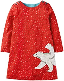 Girls Cotton Long Sleeve Cartoon Pattern Dress