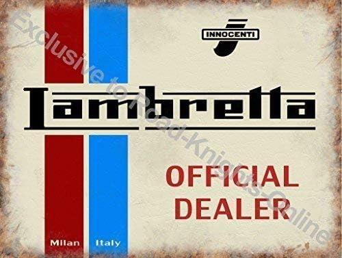 Old Vintage R/étro pour Maison M/étal//Acier Panneau Mural Milan Italie Logo sur Blanc Garage Pub ou Boutique Rouge et Bleu Innocenti Maison Barre RKO Scooter Lambretta Officiel Dealer