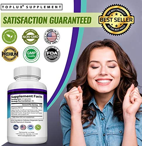 Keto Detox Pills Advanced Cleansing Extract – 1532 Mg Natural Acai Colon Cleanser Formula Using Ketosis & Ketogenic Diet, Flush Toxins & Excess Waste, for Men Women, 60 Capsules, Lux Supplement 8