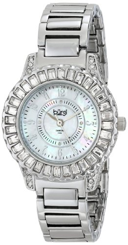 Burgi Women's BUR095SS Silver Crystal Accented Swiss Quartz Watch with Mother of Pearl Dial and Silver Bracelet