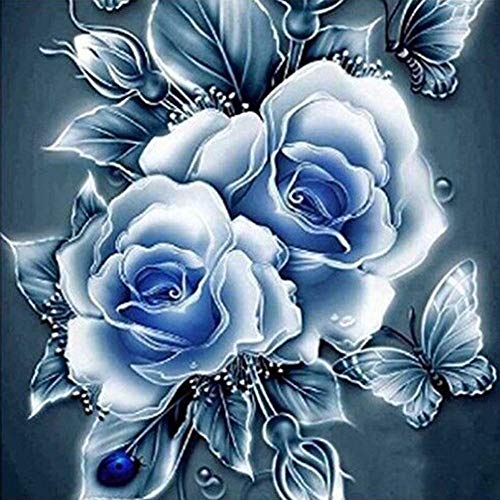 New 5D Diamond Painting Kits for Adults Kids, Awesocrafts Vintage Peony Flowers Butterfly Ladybug Partial Drill DIY Diamond Art Embroidery Paint by Numbers with Diamonds (Blue)
