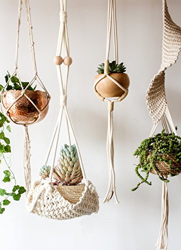 Macrame Plant Hanger Handmade Cotton Rope Wall Hangings Home Decor,30L