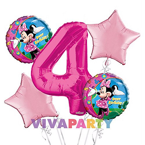Minnie Mouse Balloon Bouquet 4th Birthday 5 pcs - Party Supplies -