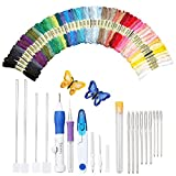 Magic Embroidery Pen Punch Needle, Embroidery Pen Set Craft Tool Including 50 Color Threads for Embroidery Threaders Knitting Sewing Tool