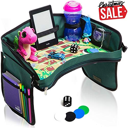 Premium Kids Car Seat Tray - Bonus SNAKES + LADDERS Game | Reinforced Base + Walls | Detachable Kids Travel Tray | Portable Toddler Travel Stroller Tray | Foldable Baby Car Tray For Kids In Car