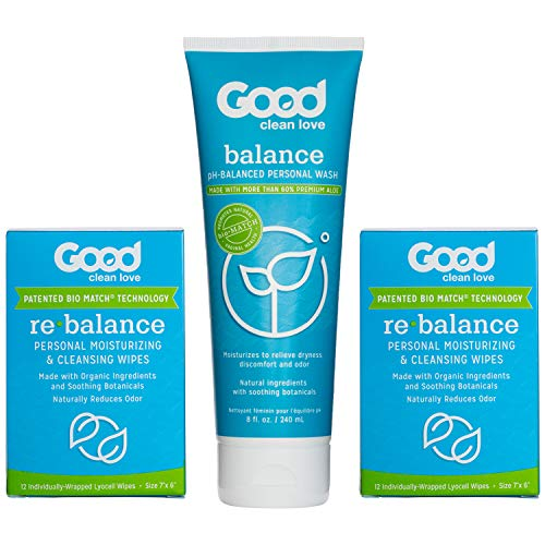 Good Clean Love Daily Care Kit, Includes 8 Oz Moisturizing Personal Wash & 24 Cleansing Wipes, Relieves Vaginal Dryness…
