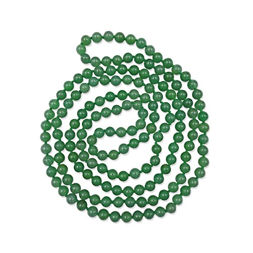 Inch 8MM Polished Genuine Green Aventurine Multi-Layer Long Endless Infinity Beaded Necklace. ()